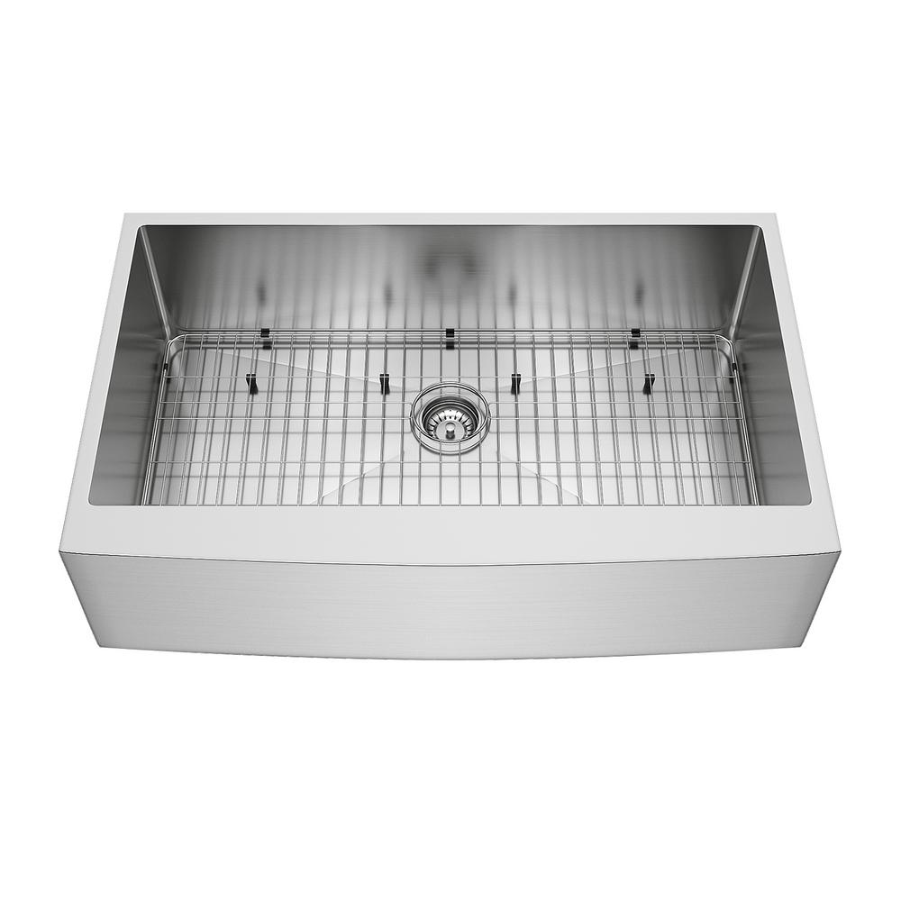 Vigo Bedford Stainless Steel 36 In Single Bowl Farmhouse Apron Front Kitchen Sink With Strainer And Stainless Steel Grid Vgr3620ck1 The Home Depot