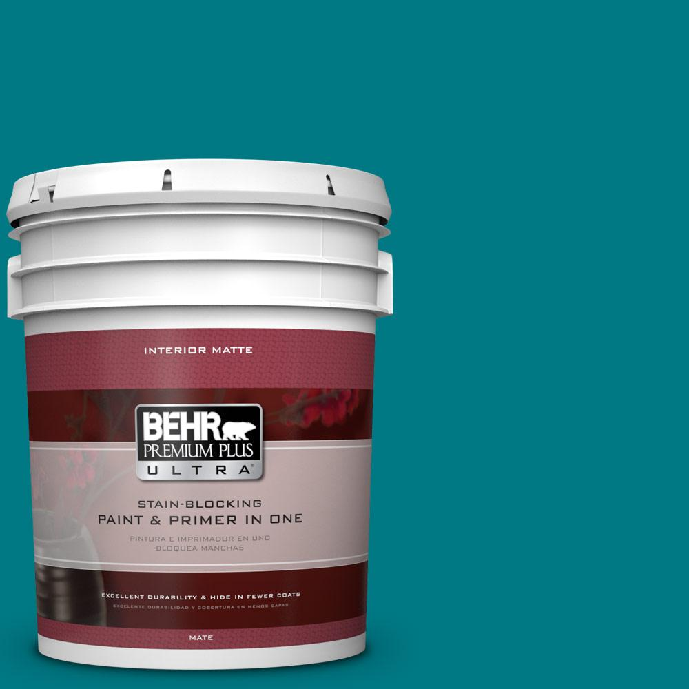 behr premium plus ultra 5 gal p470 7 the real teal matte interior paint and primer in one. Black Bedroom Furniture Sets. Home Design Ideas