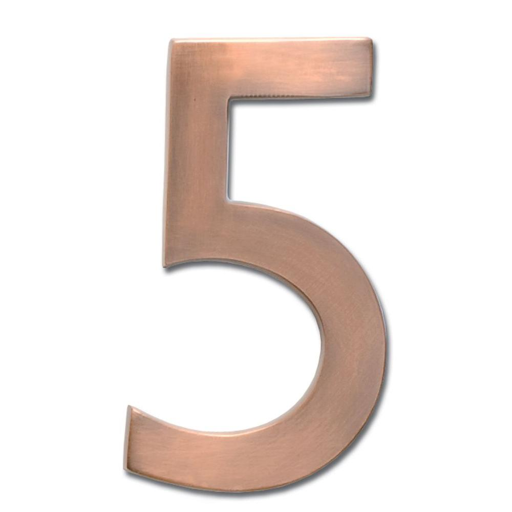 4 in. Antique Copper Floating House Number 5
