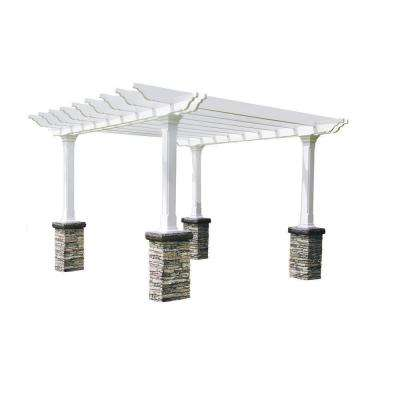Heritage 12 ft. x 12 ft. Gray Stacked Stone Dual Beam Pergola