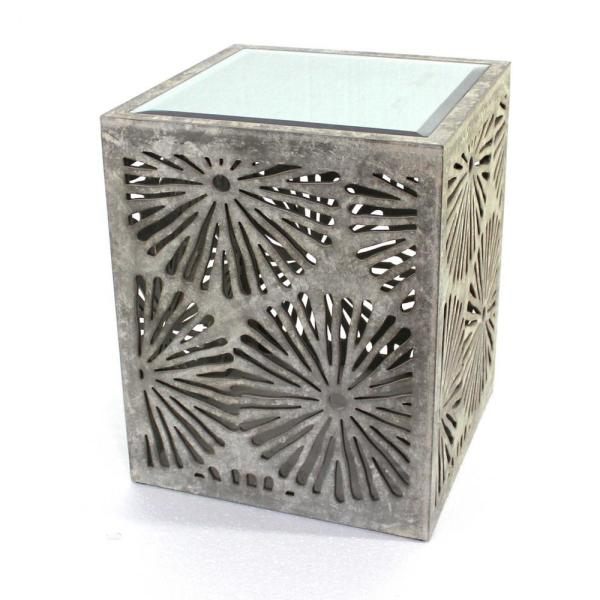 Mariana 23 in. Gray Glass End Table