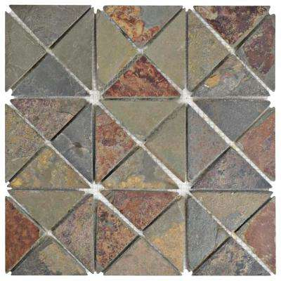 Crag TriSquare Sunset Slate 12 in. x 12 in. x 10 mm Natural Stone Mosaic Tile