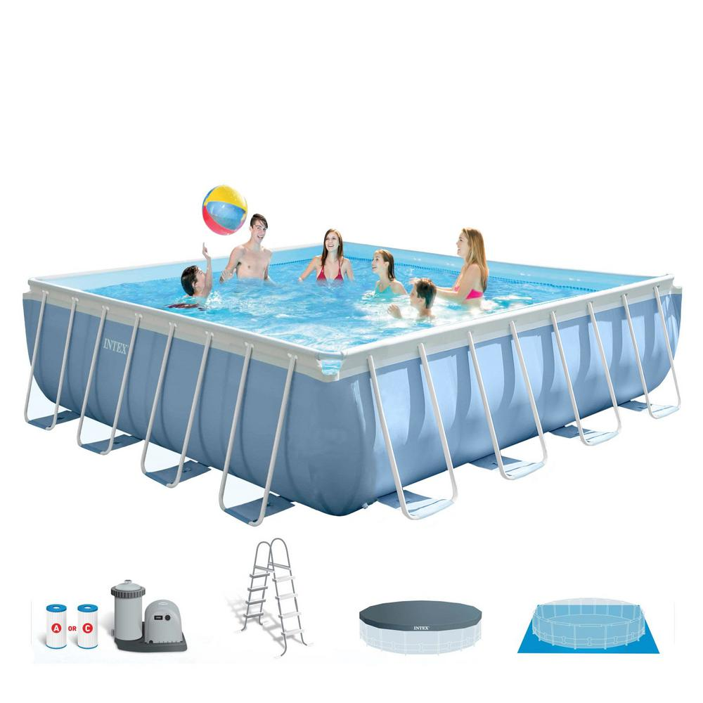 Intex 16 ft. x 48 in. Prism Frame Square Above Ground Swimming Pool ...
