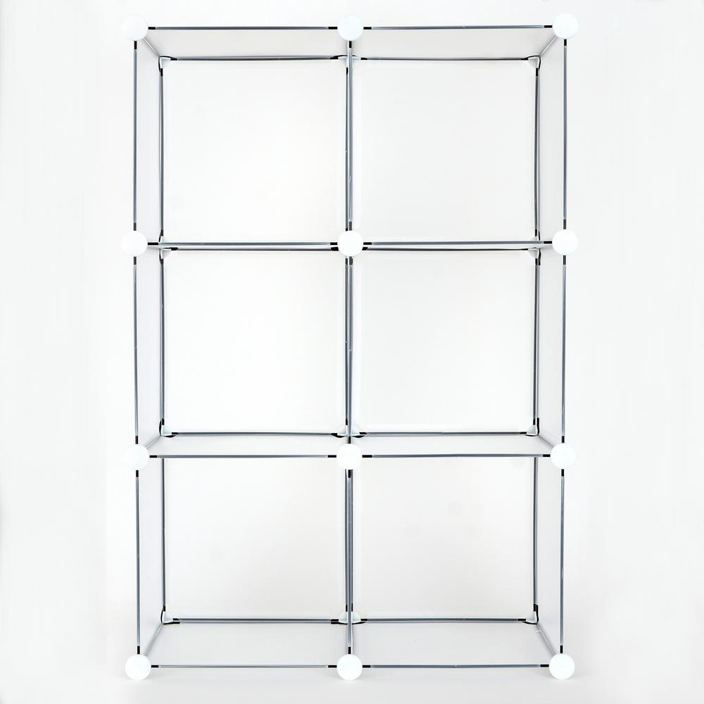 24 in. x 36 in. Clear Frost Stackable 6-Cube Organizer