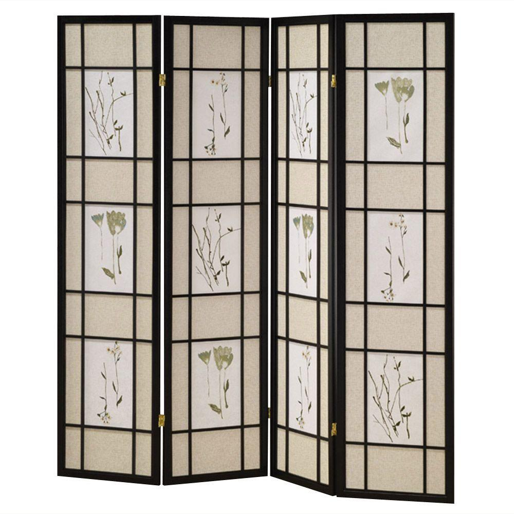 583 ft Natural 4 Panel Room Divider R5442 4 The Home Depot