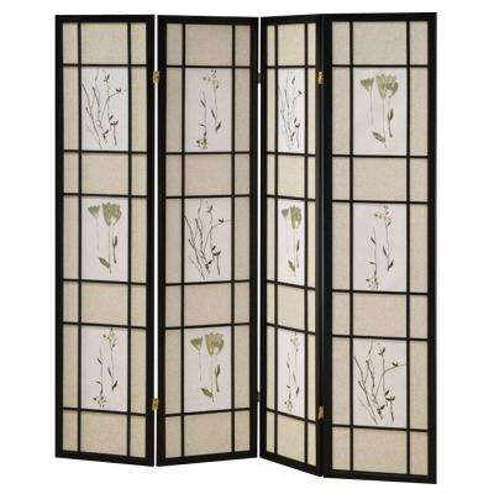 5.83 ft. Black 4-Panel Room Divider