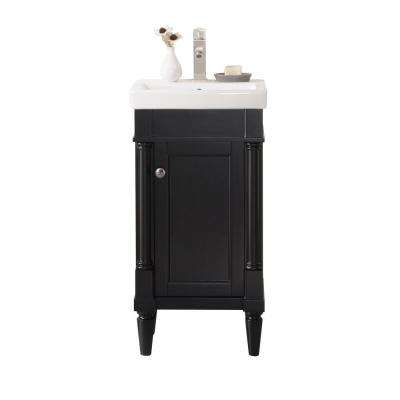 17.5 in. W x 13 in. D Bath Vanity in Espresso with White Ceramic Top in White with White Basin