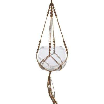 Mika 6 in. x 4.5 in. Glass Hanging Oval Terrarium with Macrame Hanger