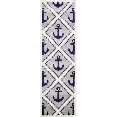 Metro Anchor Light Gray 2' 0 x 6' 7 Runner Rug