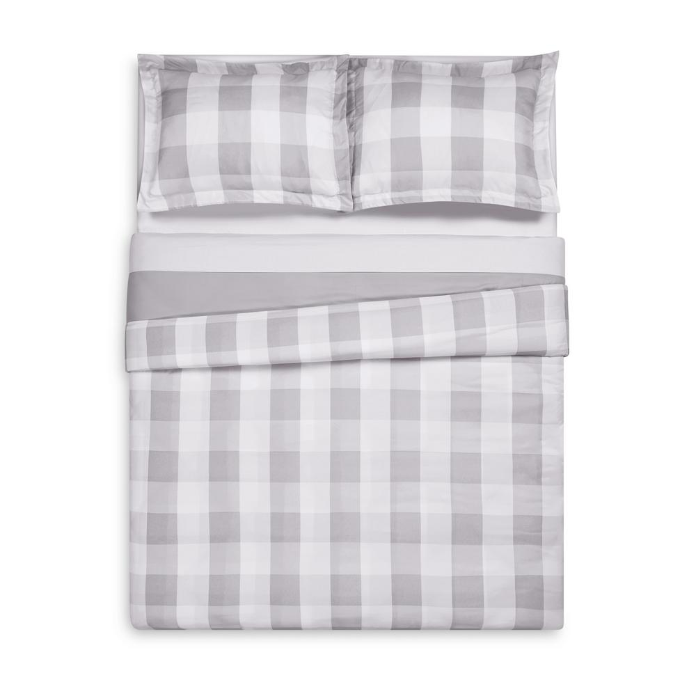 Everyday Buffalo Plaid Grey Full / Queen Duvet Set