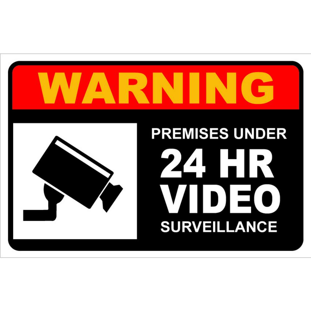 Promodor 7 in. x 10 in. Warning Premises Under 24-Hour Video Surveillance Plastic Sign