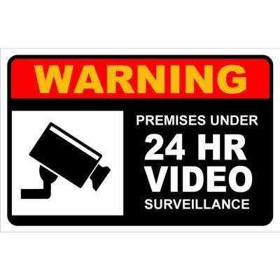 12 in. x 8 in. Plastic Premises Under 24-Hours Video Surveillance