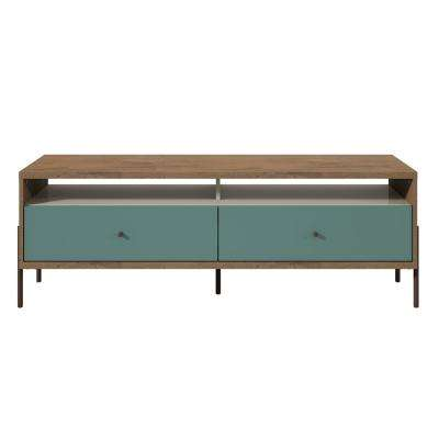 Joy Blue, Off White and Oak 59 in. TV Stand with 2-Full Extension Drawers