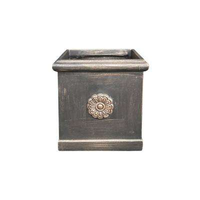 Small 8.3 in. x 8.3 in. x 9.1 in. Bronze Lightweight Concrete Chrysantemum Square Planter