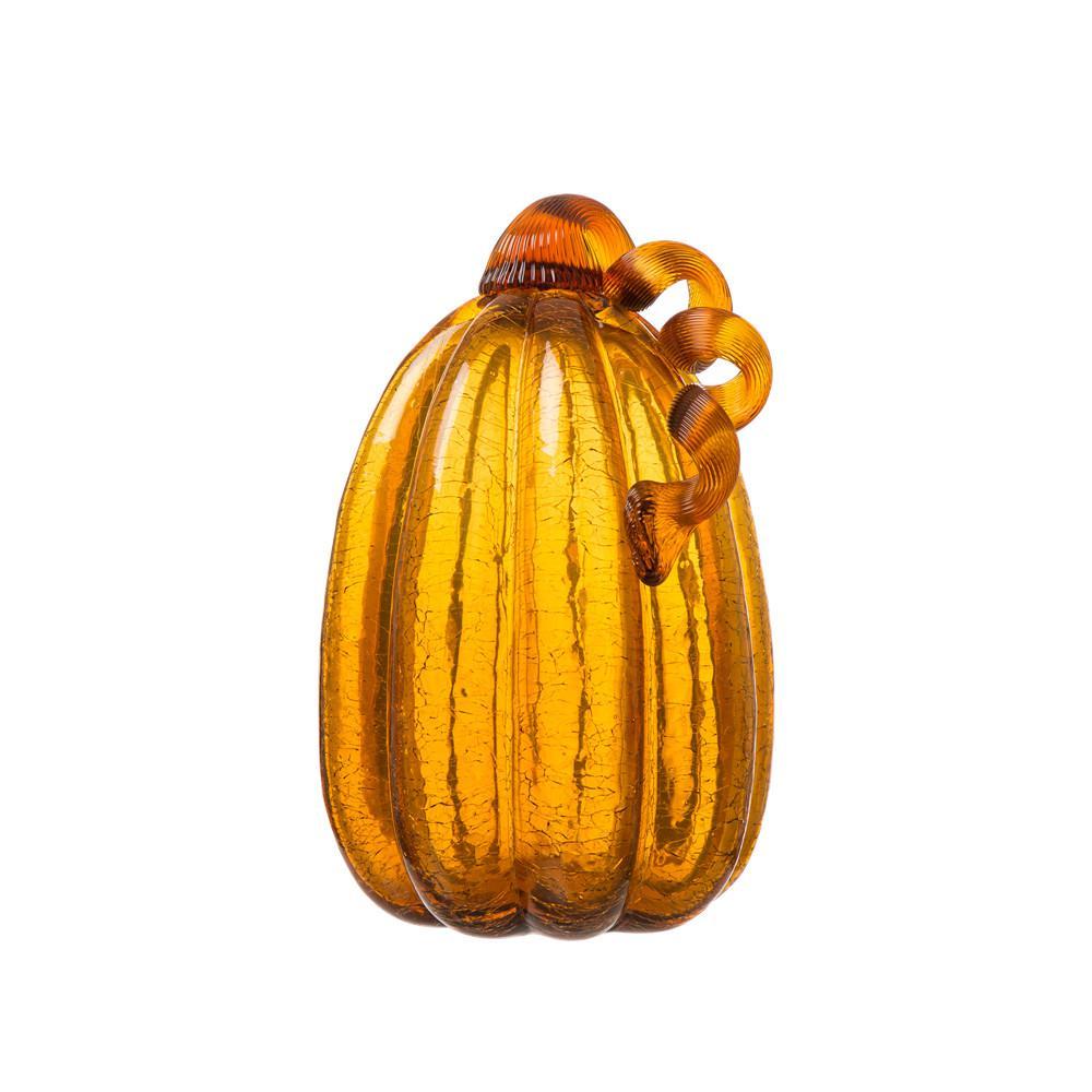 Glitzhome 9.06 in. H Pumpkin Crackle Tall Glass in Amber