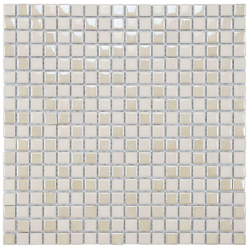 Merola Tile Cosmo Pixie Almond 11-3/4 in. x 11-3/4 in. x 4 mm Porcelain Mosaic Tile