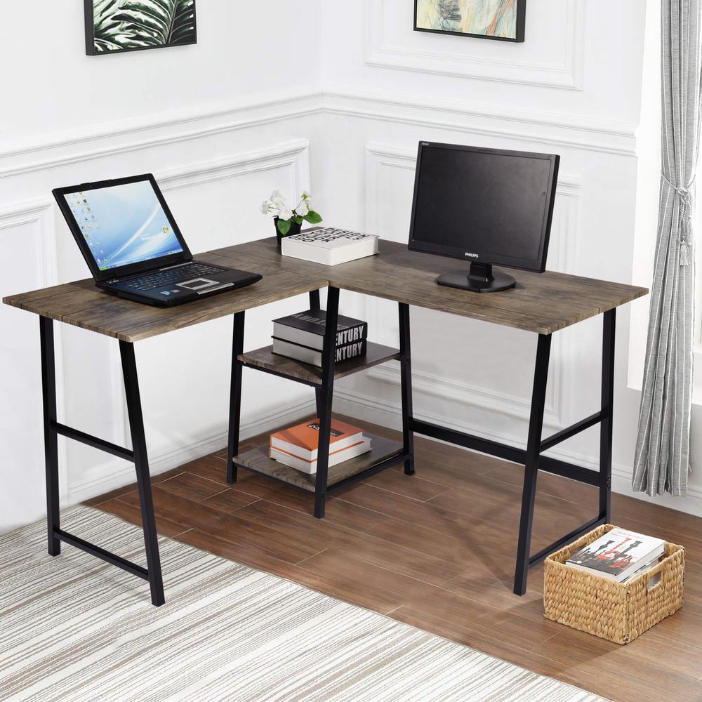 Deals on FurnitureR 44 in. L-Shaped Walnut Computer Desk with Shelves