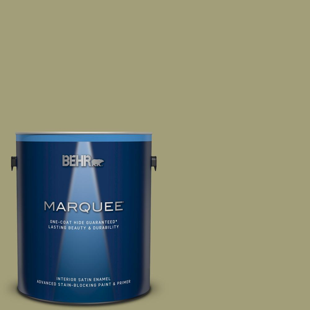 BEHRMARQUEE BEHR MARQUEE 1 gal. #MQ6-57 Bermuda Grass One-Coat Hide Satin Enamel Interior Paint and Primer in One