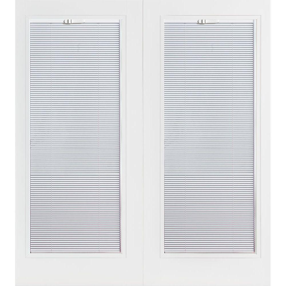 Primed Prehung Left Hand Inswing Mini Blind Steel Patio Door With  Brickmold 89890   The Home Depot