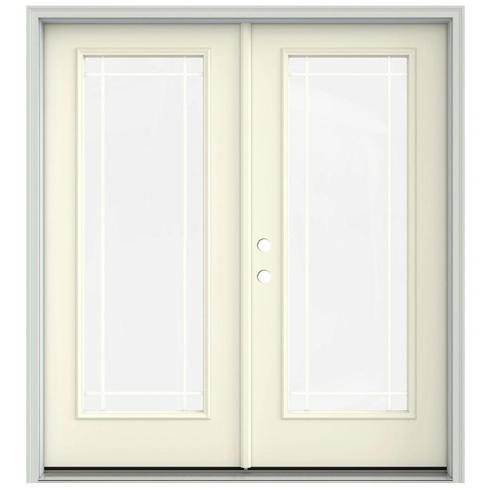 Jeld wen 72 in x 80 in french vanilla prehung right hand inswing 9 french vanilla prehung right hand inswing 9 lite french patio door with brickmould thdjw205900604 the home depot planetlyrics Choice Image