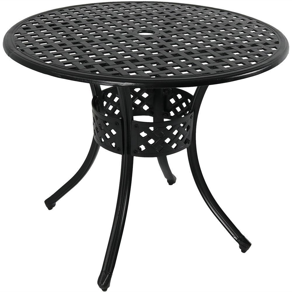 Black Round Cast Aluminum Outdoor Dining Table