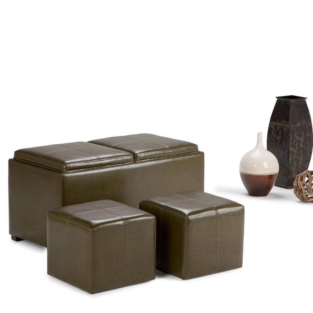 Avalon Deep Olive Green Ottoman Bench