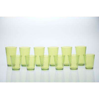 12-Piece Lime Green Drinkware Set