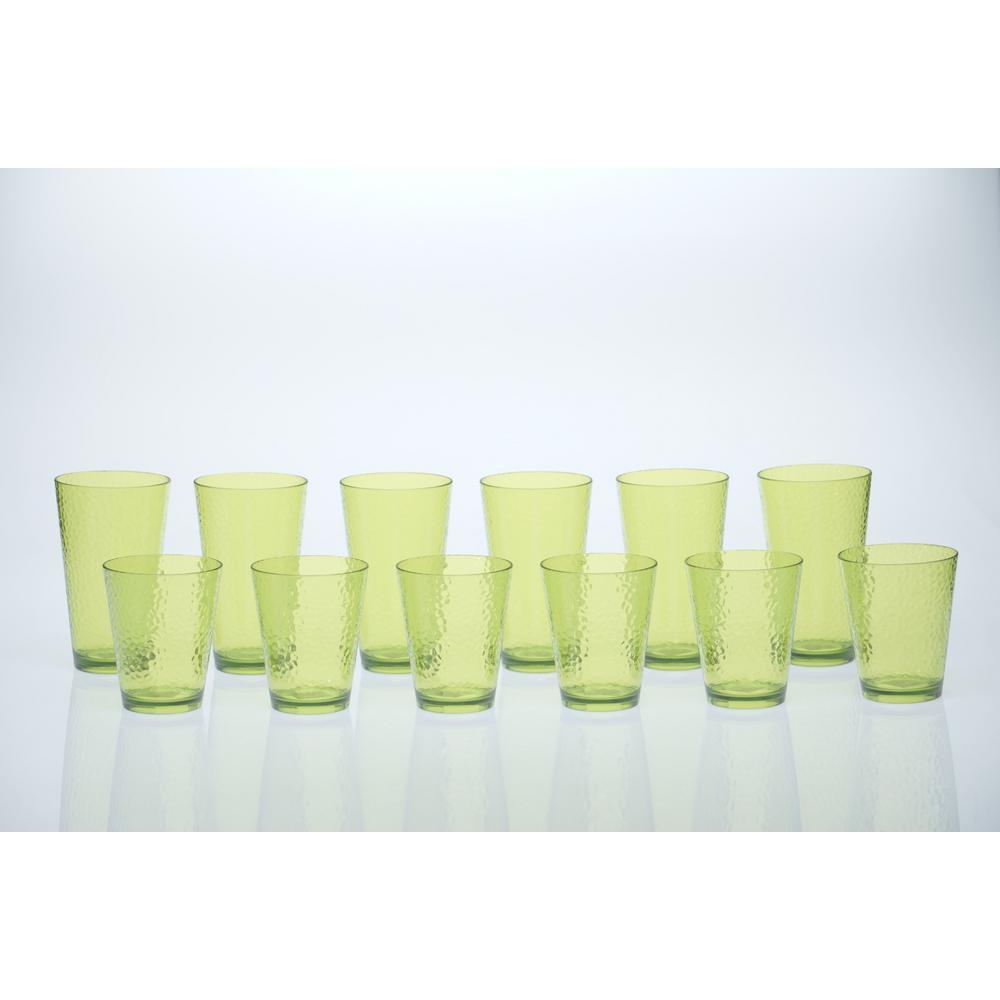 12-Piece Lime Green Drinkware Set