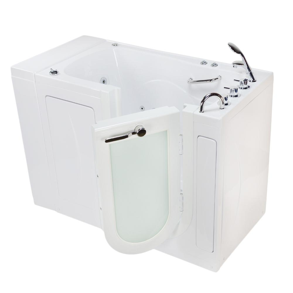 Monaco Acrylic 52 in. Walk-In Whirlpool and Air Bath in White