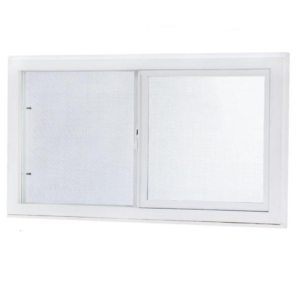 31.75 in. x 15.75 in. Left Hand Single Sliding Vinyl Window with Dual Pane Insulated Glass - White