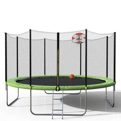 14 ft. Round Trampoline with Safety Enclosure Basketball Hoop and Ladder