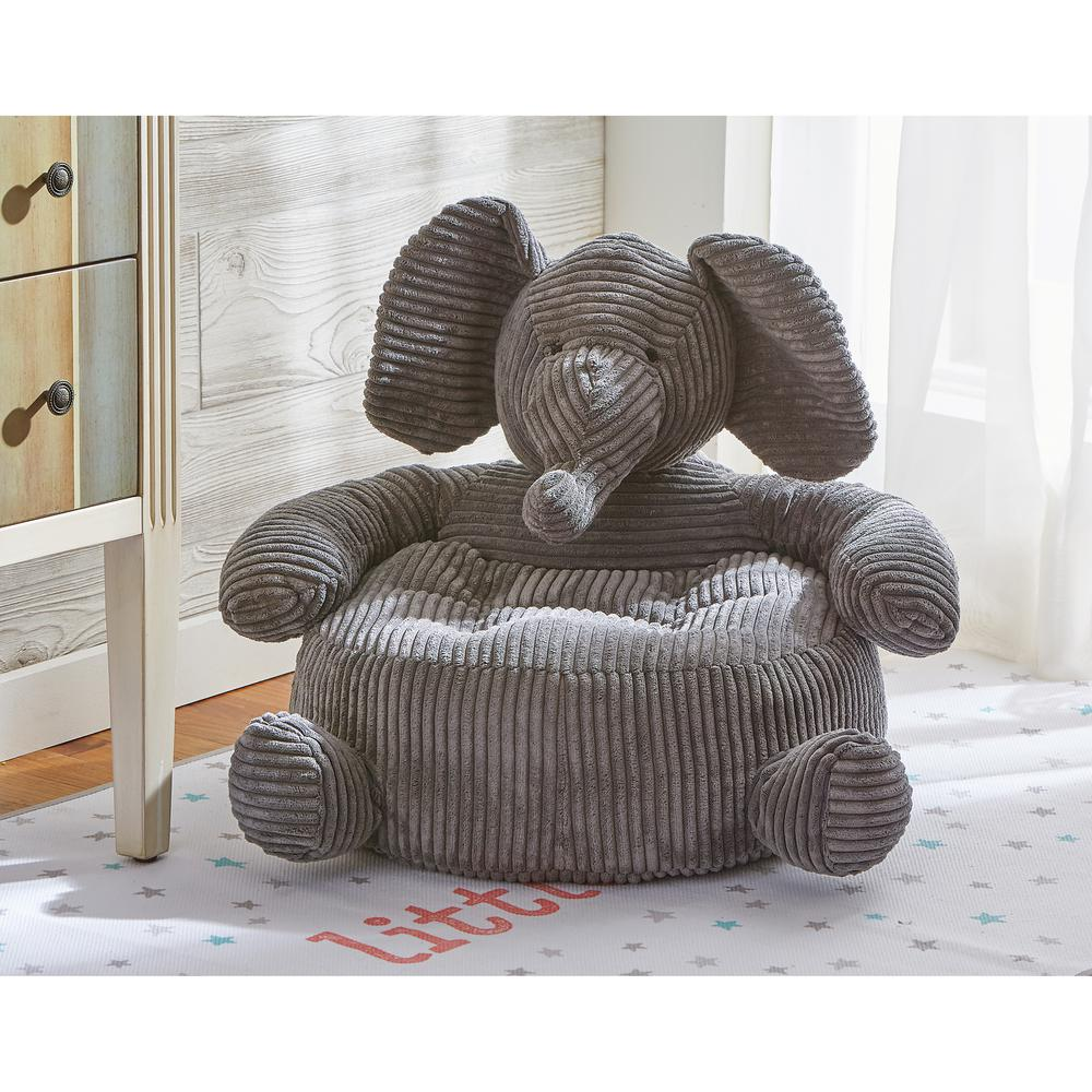 Tag Elephant 1 Piece Gray Corduroy Plush Chair