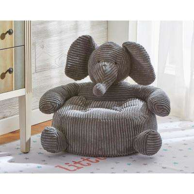 Elephant 1-Piece Gray Corduroy Plush Chair