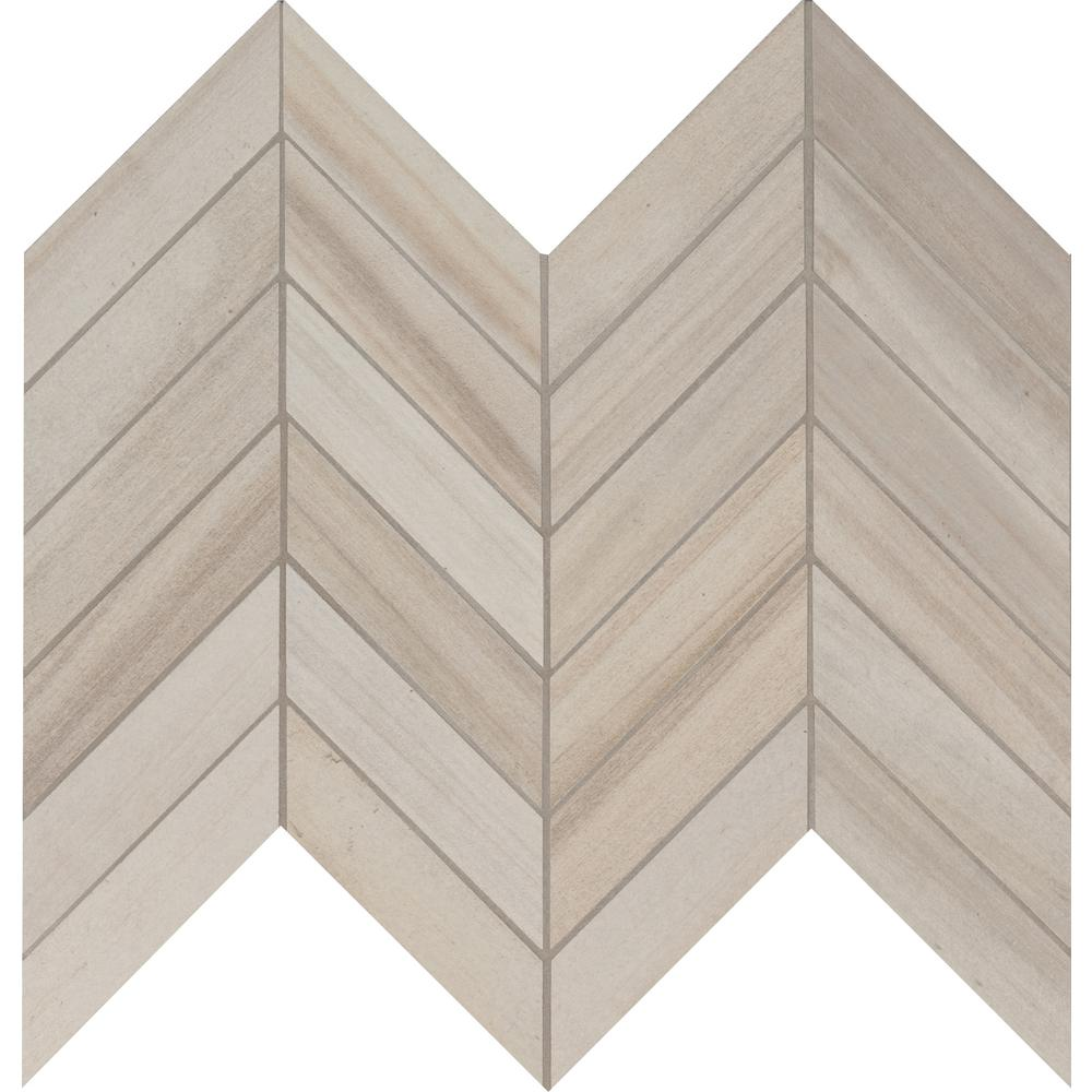 MSI Havenwood Dove Chevron 12 in. x 15 in. x 9mm Glazed Porcelain Mesh-Mounted Mosaic Tile (10 sq. ft. / case)