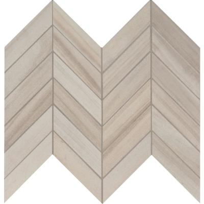 Havenwood Dove Chevron 12 in. x 15 in. x 9mm Matte Porcelain Mesh-Mounted Mosaic Tile (10 sq. ft. / case)