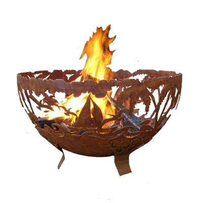 Tropical 32 in. x 19 in. Round Steel Wood Burning Fire Pit in Rust