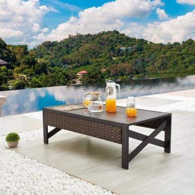 Brown Wicker/Rattan Outdoor Coffee Table