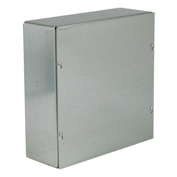 NEMA 1 12 in. x 12 in. x 4 in. Galvanized No Knockouts Screw Cover Wall-Mount
