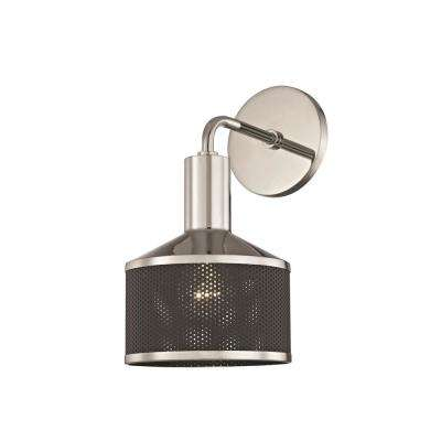 Yoko 1-Light Polished Nickel Wall Sconce with Black Mesh