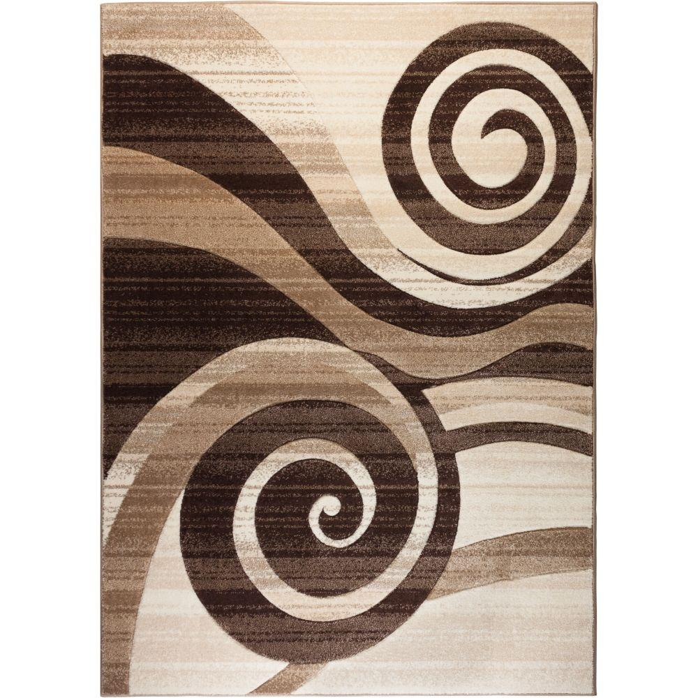 Well Woven Ruby Whirlwind Brown 4 Ft X 5 Modern Area Rug