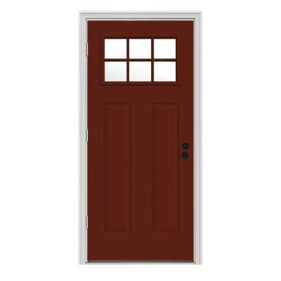 32 in. x 80 in. Craftsman Mesa Red Painted Right-Hand Outswing 6 Lite Clear Steel Prehung Front Door w/Brickmould