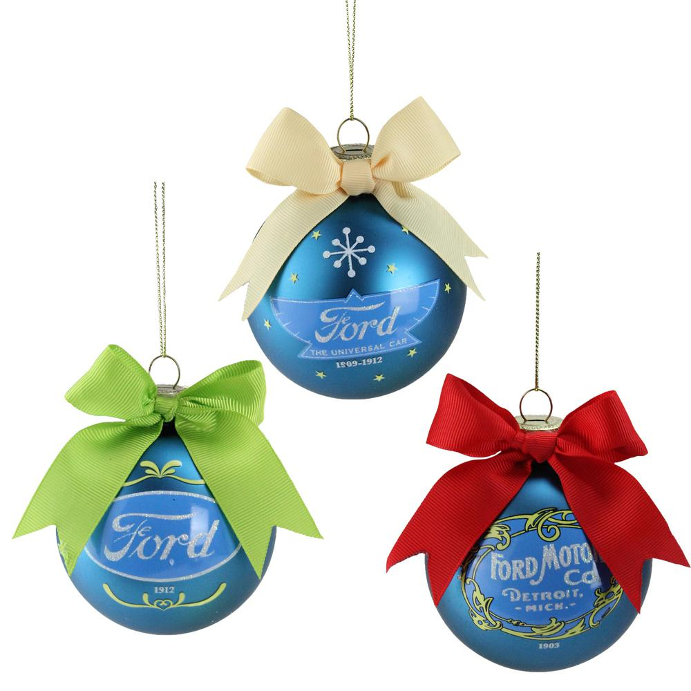 (70 mm) Collectible Ford Logo Blue Glass Ball Christmas Ornaments (Set of 3)