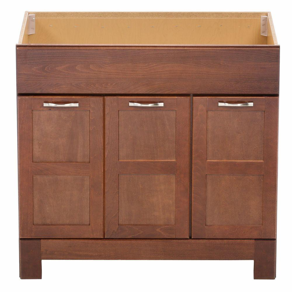 Glacier Bay Casual 36 in. W x 21 in. D x 33.5 in. H Bath Vanity Cabinet Only in Cognac