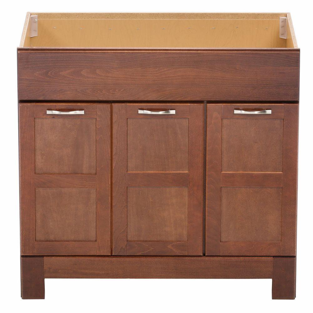 Casual 36 in. W x 21 in. D x 33.5 in. H Bath Vanity Cabinet Only in Cognac