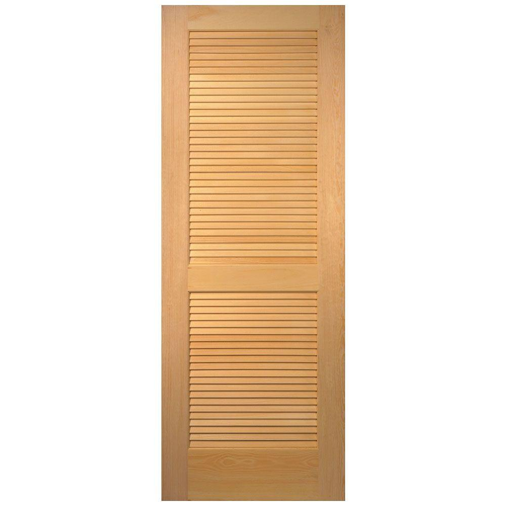 36 in. x 80 in. Pine Unfinished 2-Panel Full Louver Wood Interior ...