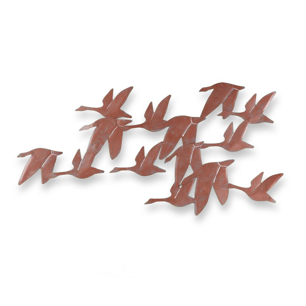 Southern Enterprises 36.25 in. x 27.25 in. Metal Flock of Geese Wall Art