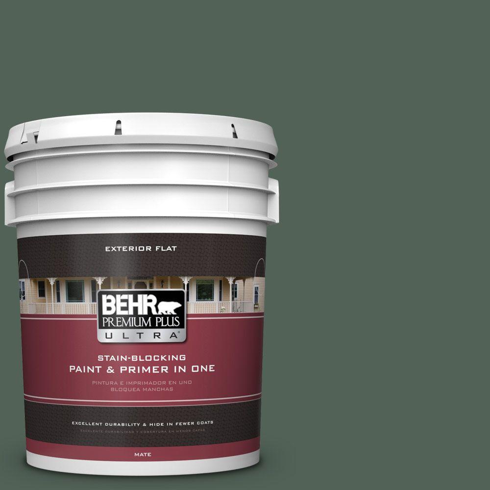BEHR Premium Plus Ultra 5-gal. #460F-6 Medieval Forest Flat Exterior Paint