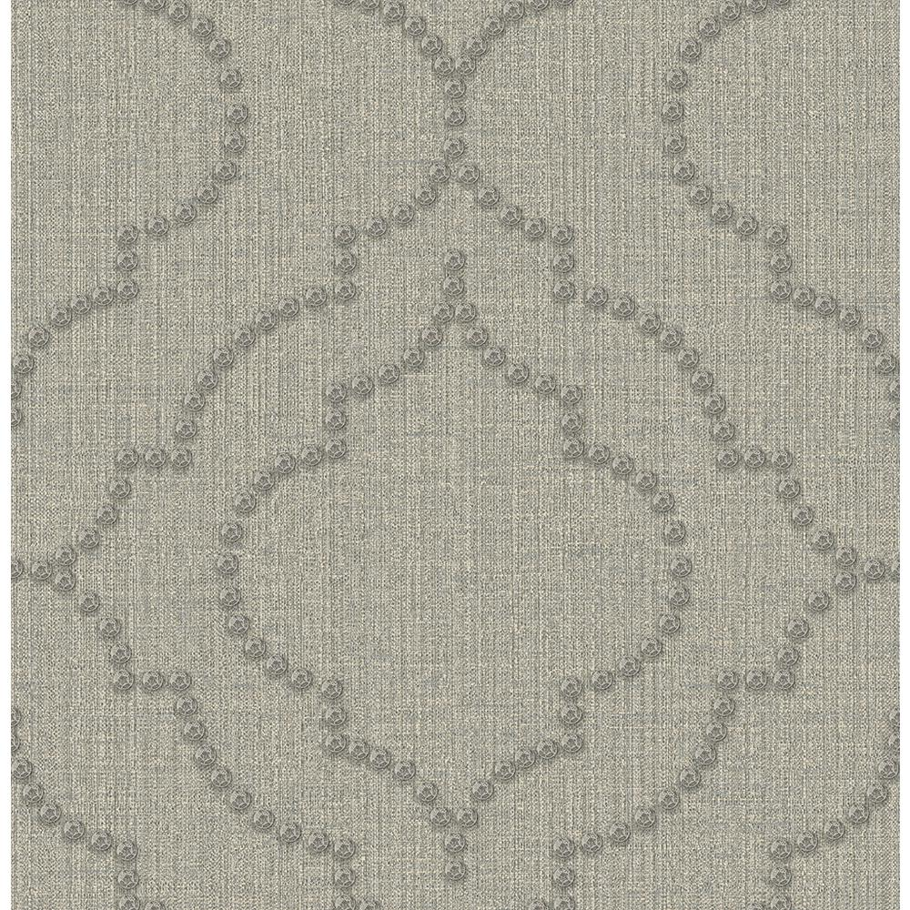56.4 sq. ft. Chelsea Grey Quatrefoil Wallpaper