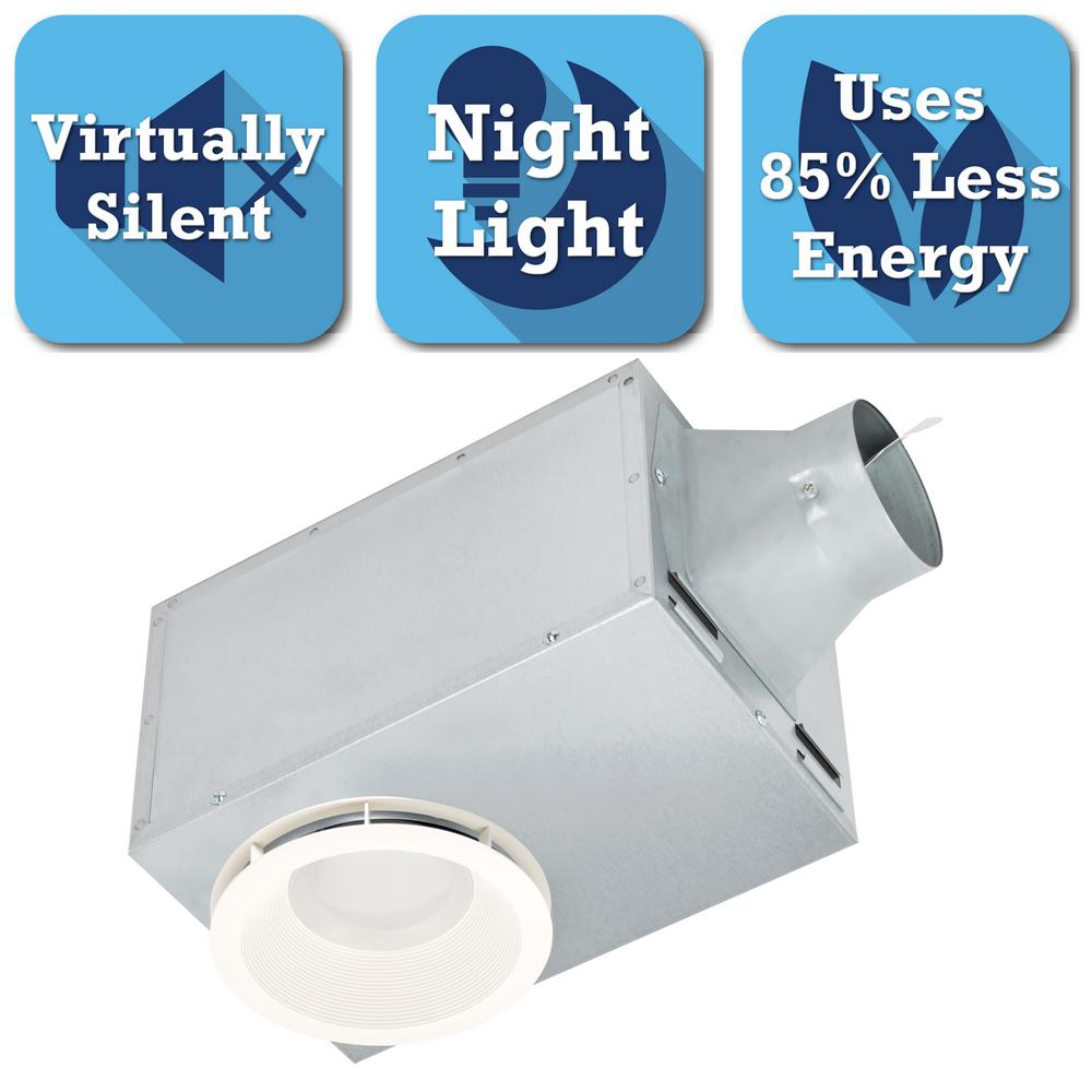 Delta Breez 80 CFM Recessed Ceiling Bathroom Exhaust Fan With LED Light And Nightlight-REC80LED