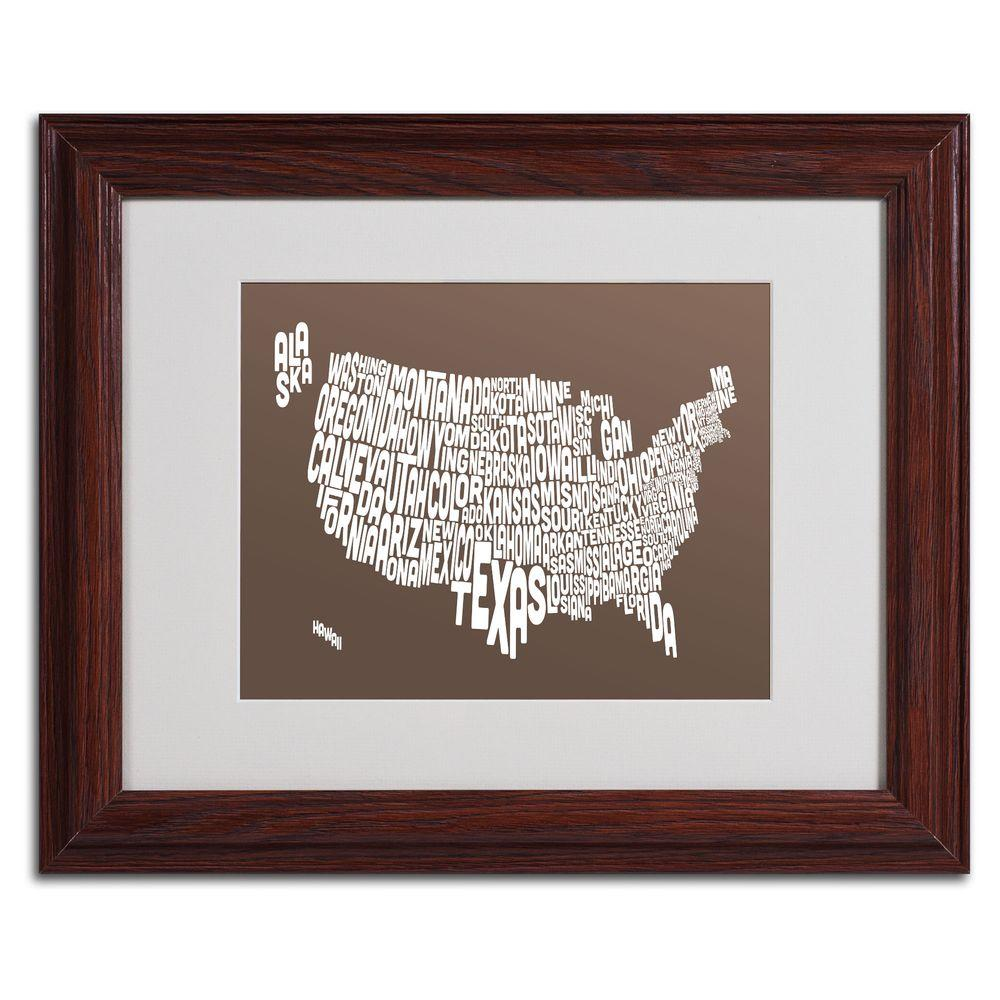 11 in. x 14 in. USA States Text Map - Coffee